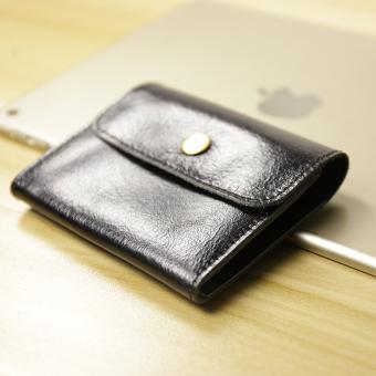 Retro kulit pria dan wanita dompet kartu Mini tas dompet (Pria Hitam) (Pria
