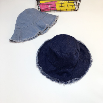 Harga baru Retro rumbai rusak pengemis topi koboi (Celana jeans biru tua) Online murah