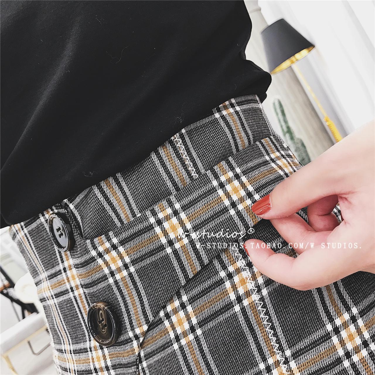 Flash Sale Retro Slim adalah kurus pinggang celana kaki celana kotak-kotak (Jaringan kopi)