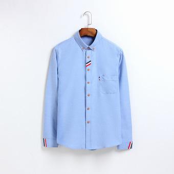 ... Pria (PUTIH ALBUM) Kain. Source · Harga baru Ribbon Jepang warna solid muda kemeja lengan panjang kemeja (Danau Biru) Pelacakan