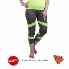 Ronaco Celana Senam Zumba Pants Celana Aerobik Celana Yoga Import  – Abu Abu strip Hijau - Dompet 1