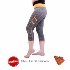 Ronaco Celana Senam Zumba Pants Celana Aerobik Celana Yoga Import  – Abu abu strip orange - Dompet 4