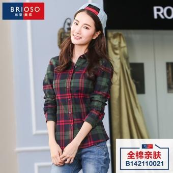 Gambar Rumah Korea pengamplasan perempuan lengan panjang baru kemeja longgar kemeja kotak kotak (10021)