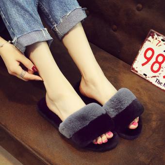 Rumah lembut bawah perempuan musim gugur dan musim dingin sandal kata tarik baru sandal kapas (