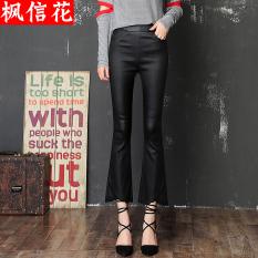 Rumbai hitam Slim adalah stoking tipis celana celana kulit (Hitam) (Hitam)
