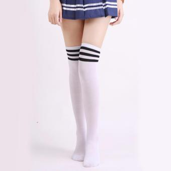 S11 Kaos Kaki Selutut Strip Hitam - Over Knee Socks Stocking StripeBlack