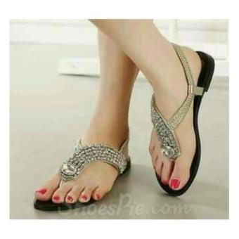 harga sandal flat permata cantik gold, sepatu sendal pesta santai wanita Lazada.co.id
