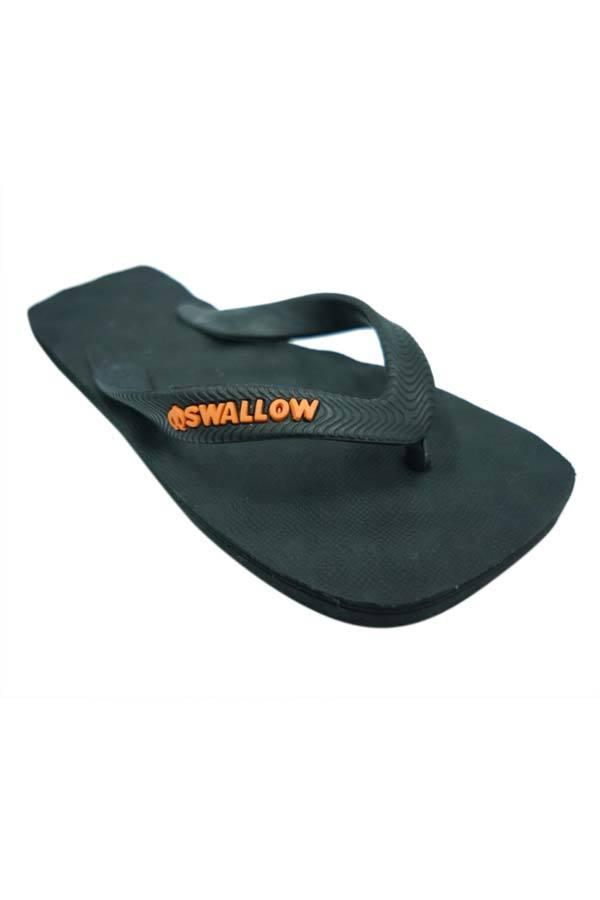 ... Sandal Swallow Spectrum Pria AllBlack - Logo Orange ...