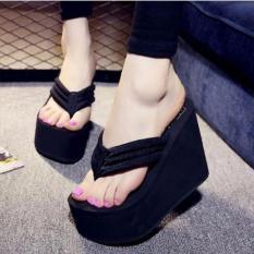 Sandal Wanita Wedges Spons Jepit Cantik Keren Lucu Unik Terbaru Murah GWS-1196 Hitam