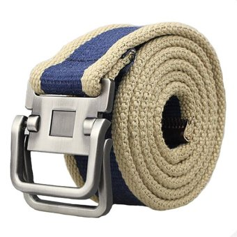 Santorini Pria Sabuk Men's Canvas Double Metal Buckle Belt - Biru
