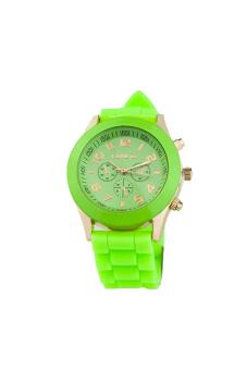 Sanwood® Men's Black Silicone Strap Sports Watch Light Green