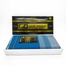 Sarung Tenun Halus Warna Biru Cap Gajah Mangga