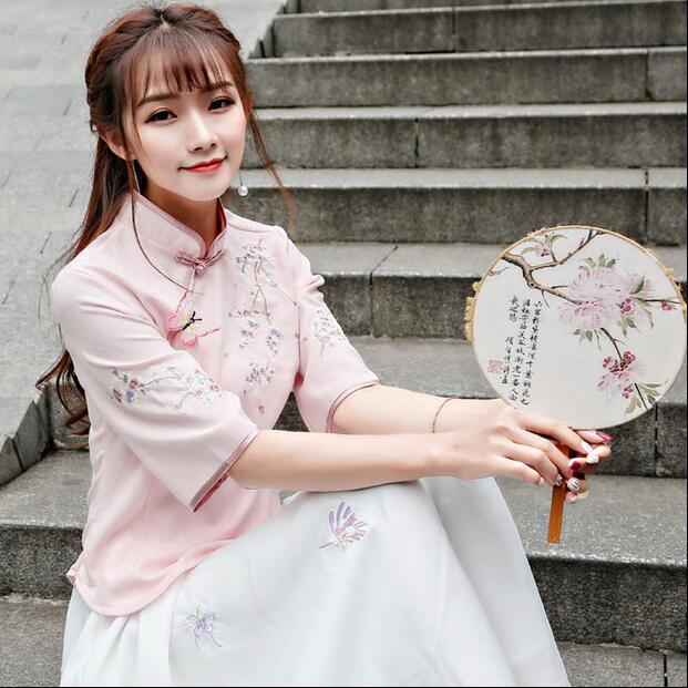Flash Sale Sastra baru Slim kerah rendah gaun cheongsam bordir (9936 lengan + gaun putih)