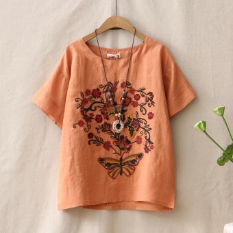 Sastra bordir perempuan lengan pendek leher bulat t-shirt bottoming t-shirt (Oranye