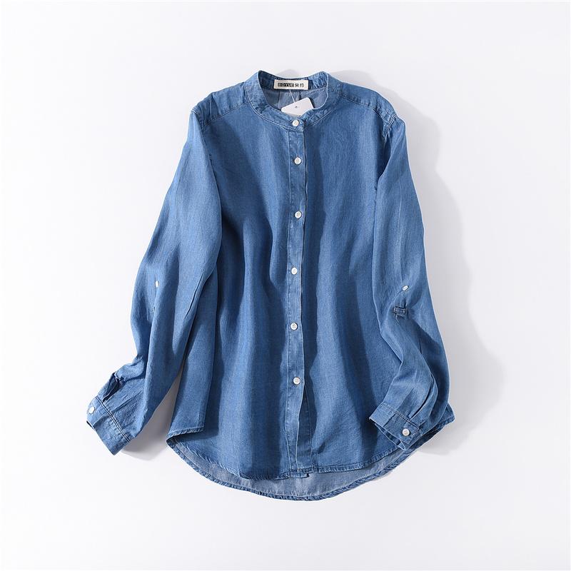 Flash Sale Sastra denim baru kemeja longgar (Denim biru) (Denim biru)