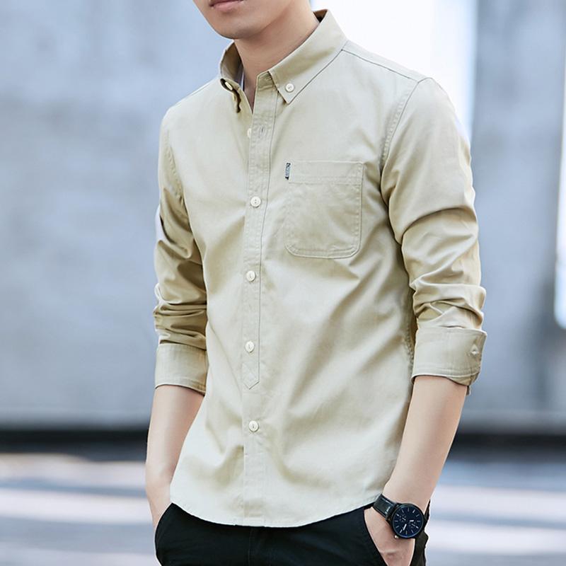 Flash Sale Sastra katun Slim pemuda kemeja lengan panjang baju kemeja  (Khaki cahaya 3136) 5b20314c9e