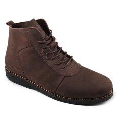 Sauqi Brodo Sepatu Boots Pria - Kulit Asli Cokelat