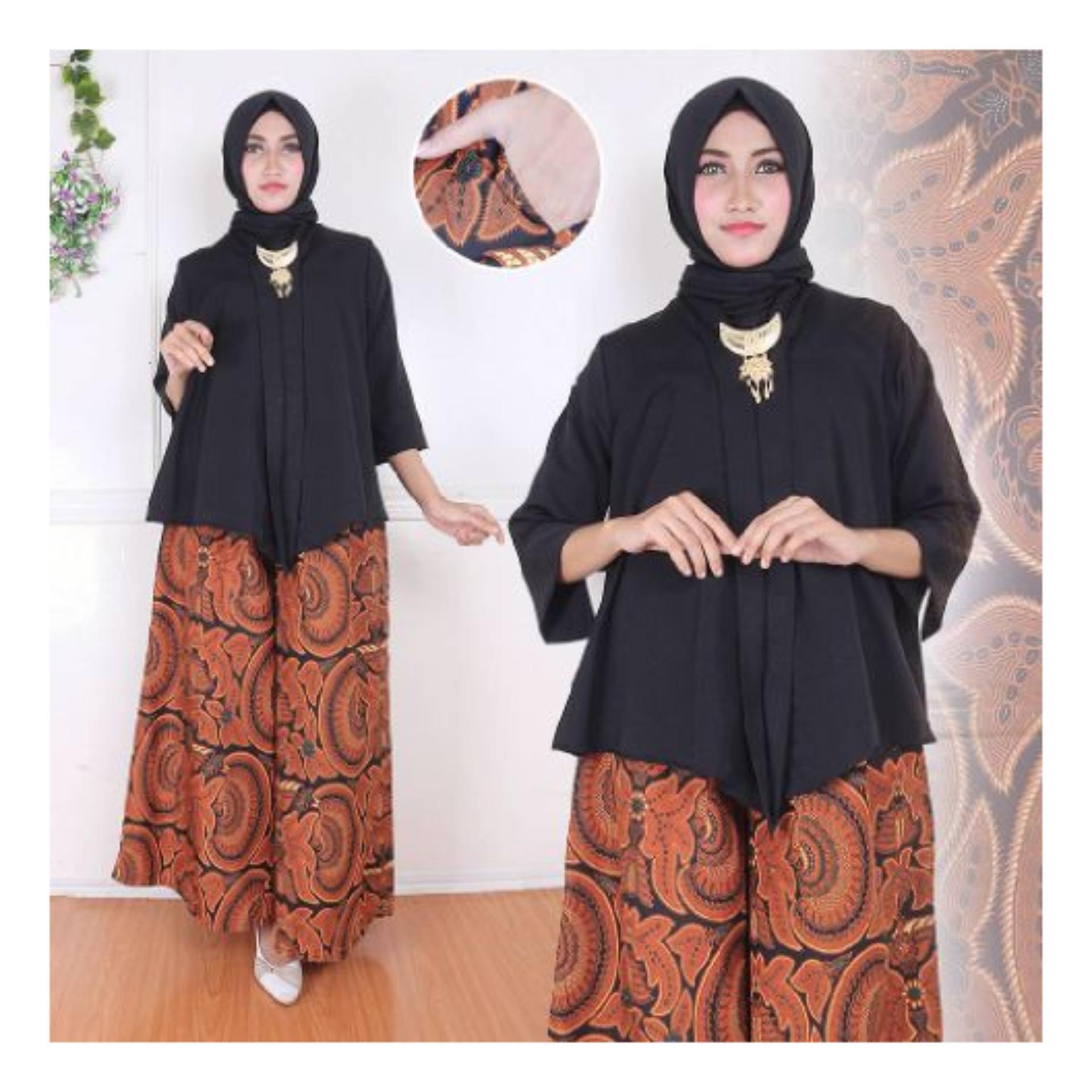 Flash Sale SB Collection Stelan Batik Anandha Blouse Dan Kulot Batik-Hitam