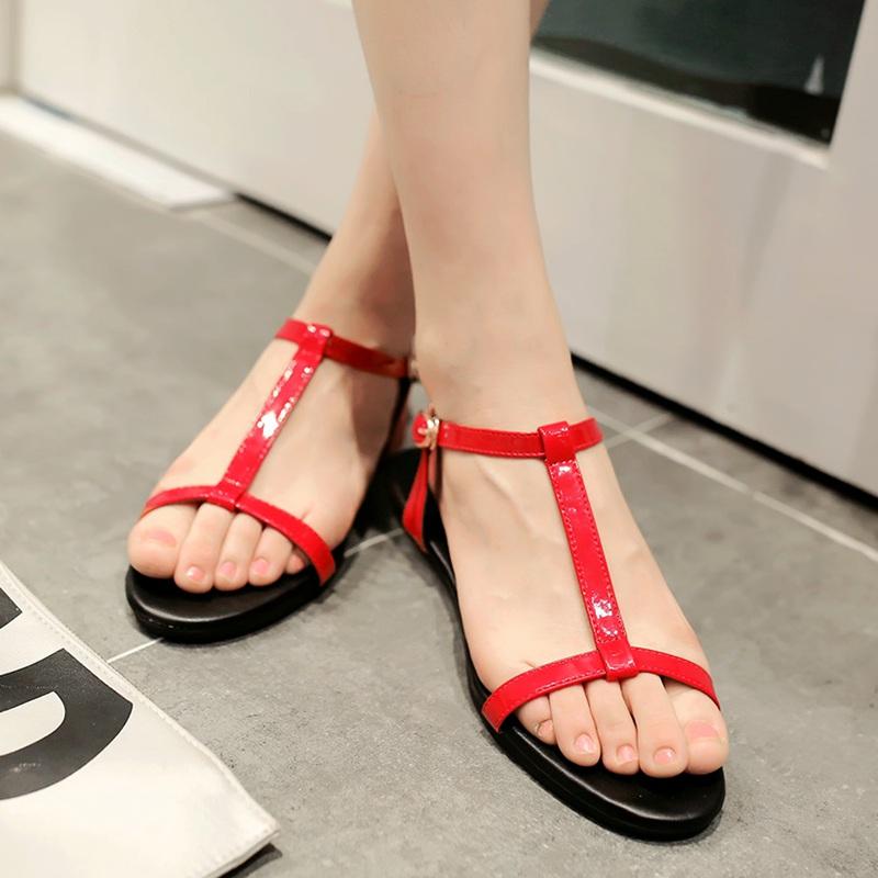 Sederhana hitam bersol lembut sepatu sandal datar siswa (Merah anggur)