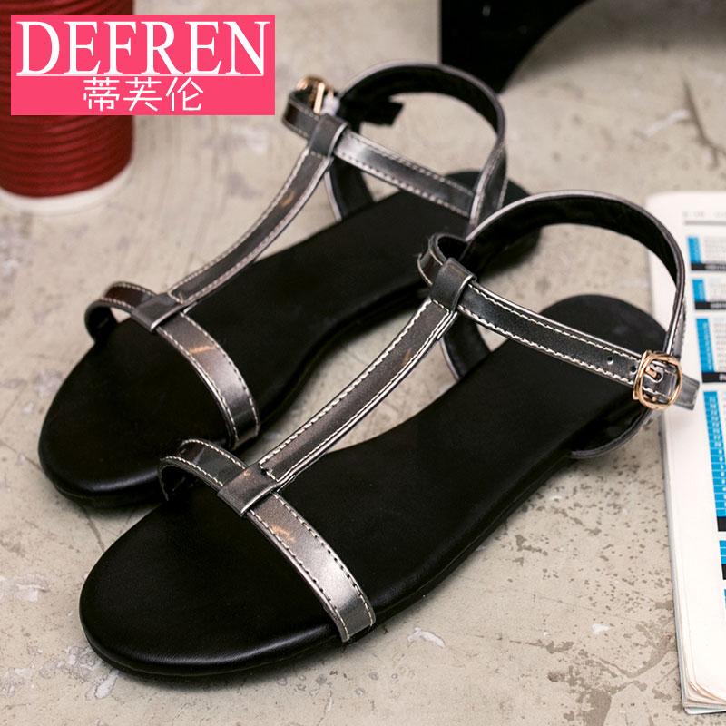 Flash Sale Sederhana hitam bersol lembut sepatu sandal datar siswa (Warna gun)