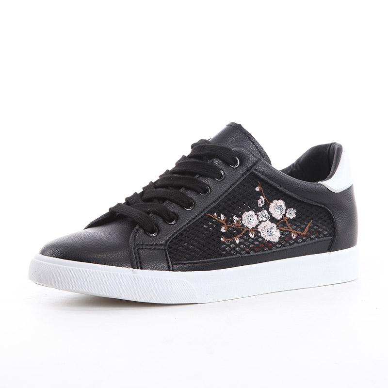 Flash Sale Sekarang bordir perempuan jala bernapas sepatu kanvas BayMini sepatu (Hitam)