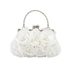 Selubung sutra dengan bunga malam tas tangan/kuku-kuku/atas pegangan tas (putih) - International - International