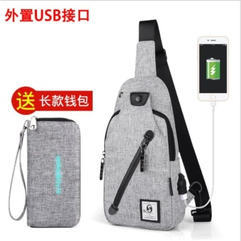 senkey style Chest Pack Single Shoulder Strap Back Bag canvas Travel Men Crossbody Bags Rucksack Chest Bag With USB interface grey - intl