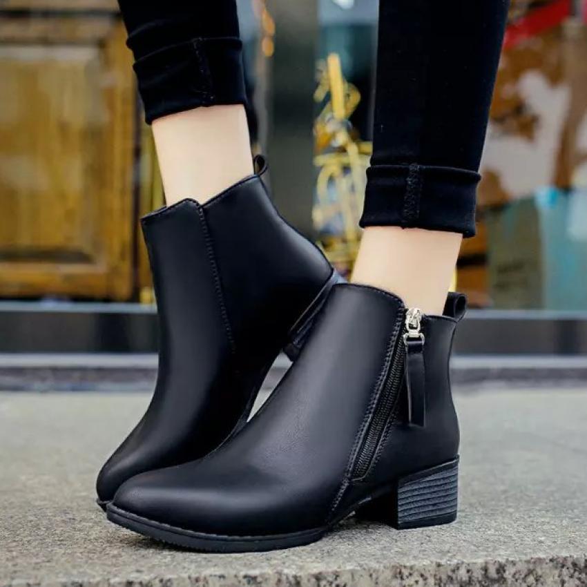 Sepatu boot wanita Martin runcing tebal sepatu bot dengan ritsleting samping rendah Inggris .
