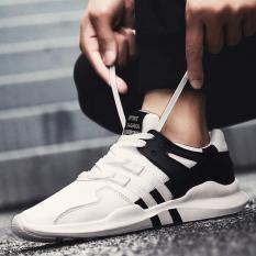 Sepatu Datar Olahraga Pria Warna Putih Trendi Versi Korea (Putih dan hitam [ warna solid