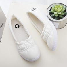 Sepatu Kanvas Wanita Warna Putih Sol Lunak Bertali Santai Versi Korea (Set putih kaki)