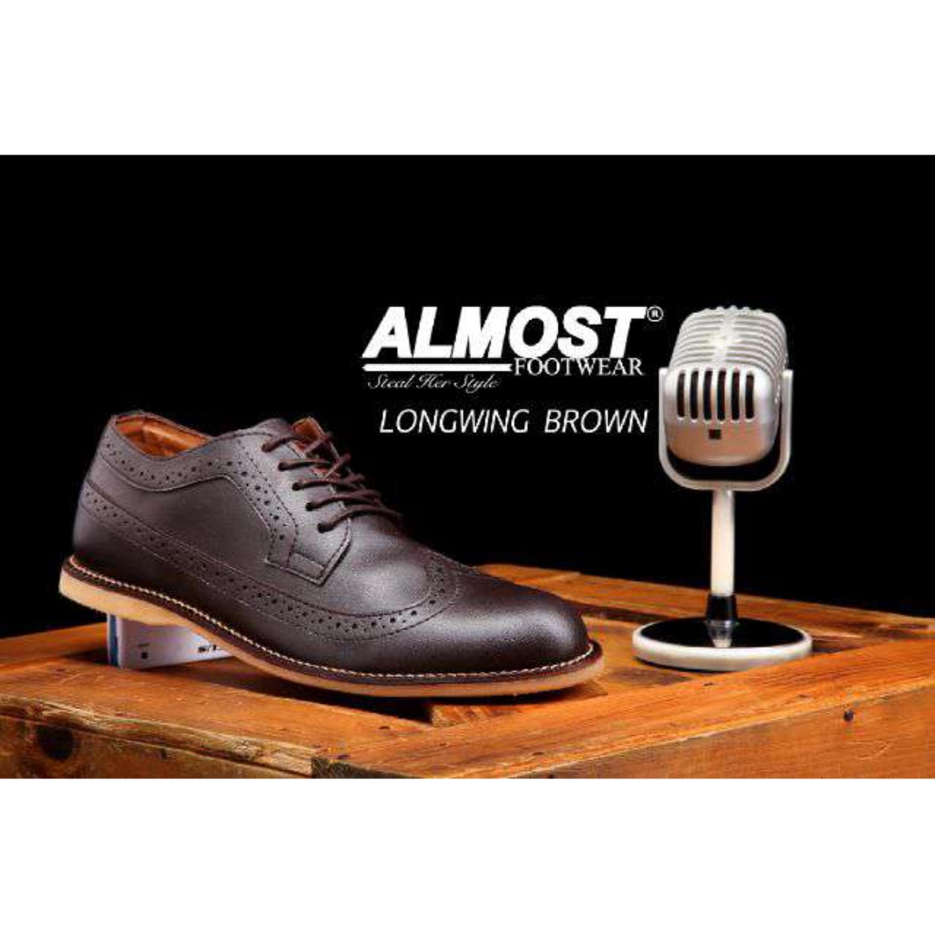 Flash Sale Sepatu Kasual Formal Pria Terbaru - ALMOST LONGWING - Brown