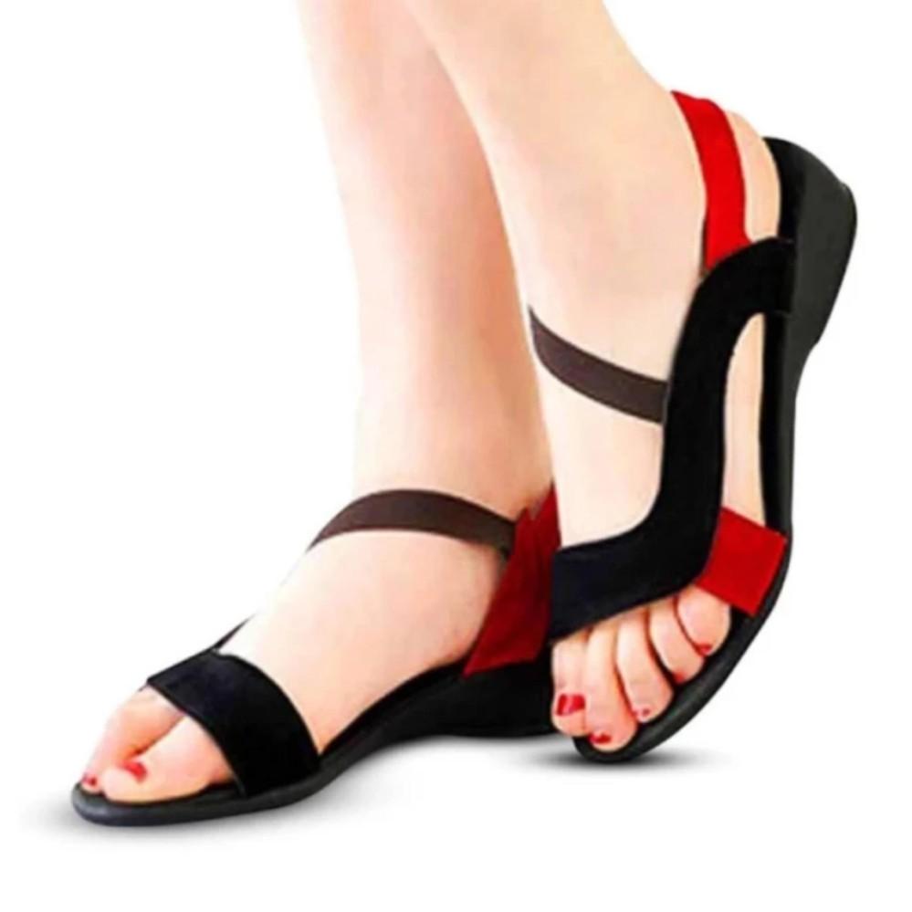 Morello Sandal Mens Japit - Hitam Sepatu Sandal Flat Wanita Model Karet / Sendal Flat Xena - Hitam