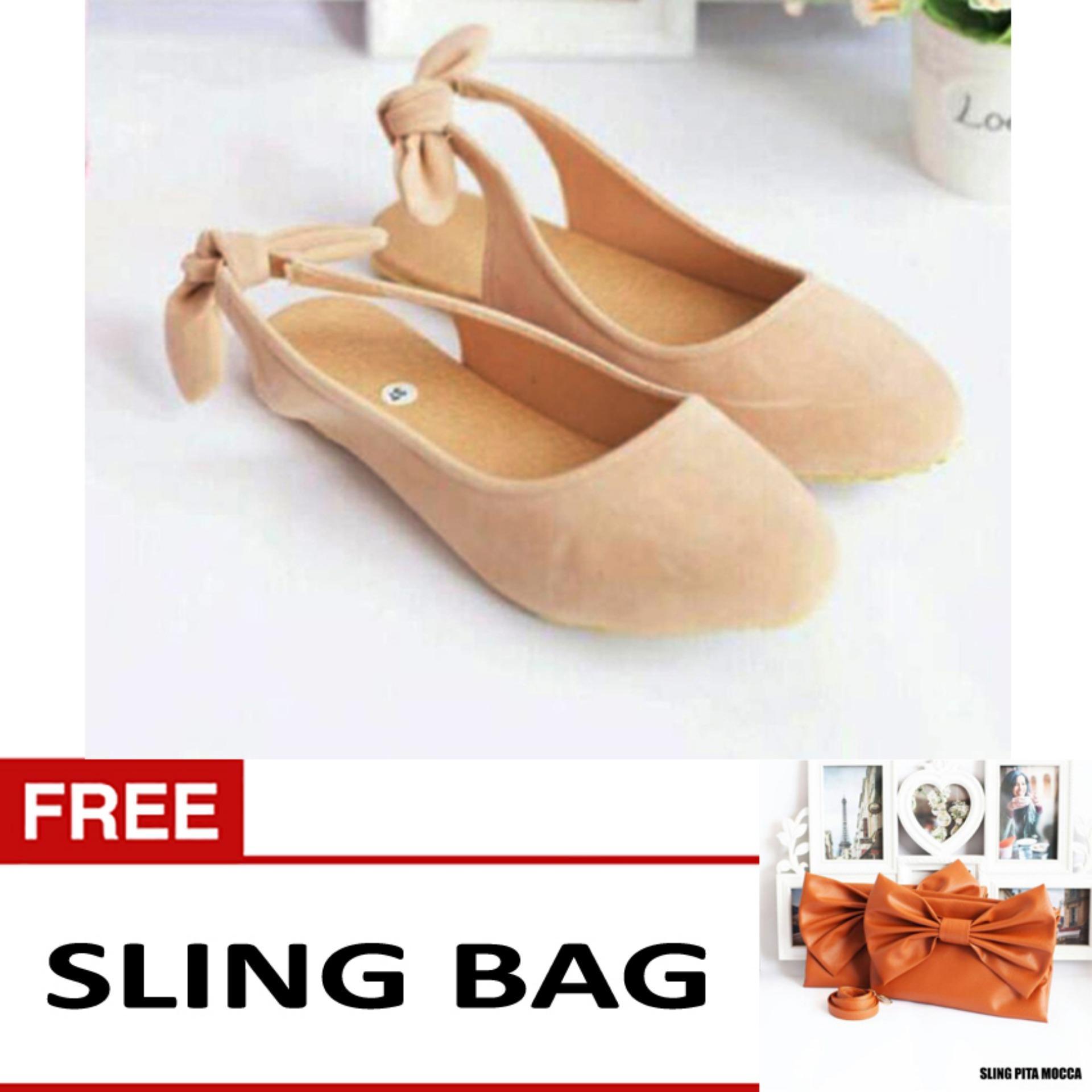 Flash Sale Sepatu Sandal Selop Flat Pita Free SlingBag - Suede Cream