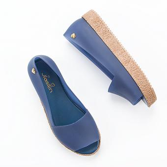 Sepatu Sandal Wanita Roma Mulut Ikan Sol Datar (Jelly biru tua)