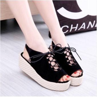 harga Sepatu Sandal Wedges Wanita Tali SDW224 Hitam Lazada.co.id