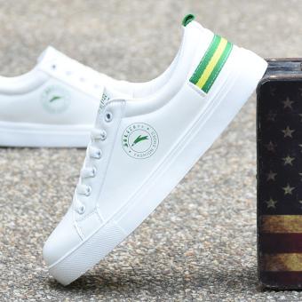 Sepatu Santai Pria Anti Air Bertali Alas Datar Pergelangan Rendah Netral Versi Korea (Putih dan