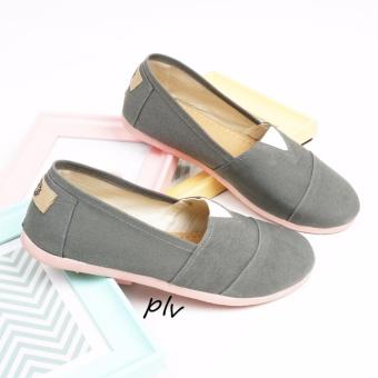 Sepatu Wanita Flat Shoes Slip On Kanvas NS55 - Abu