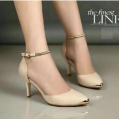 sepatu/sendal high heels gelang wanita cream