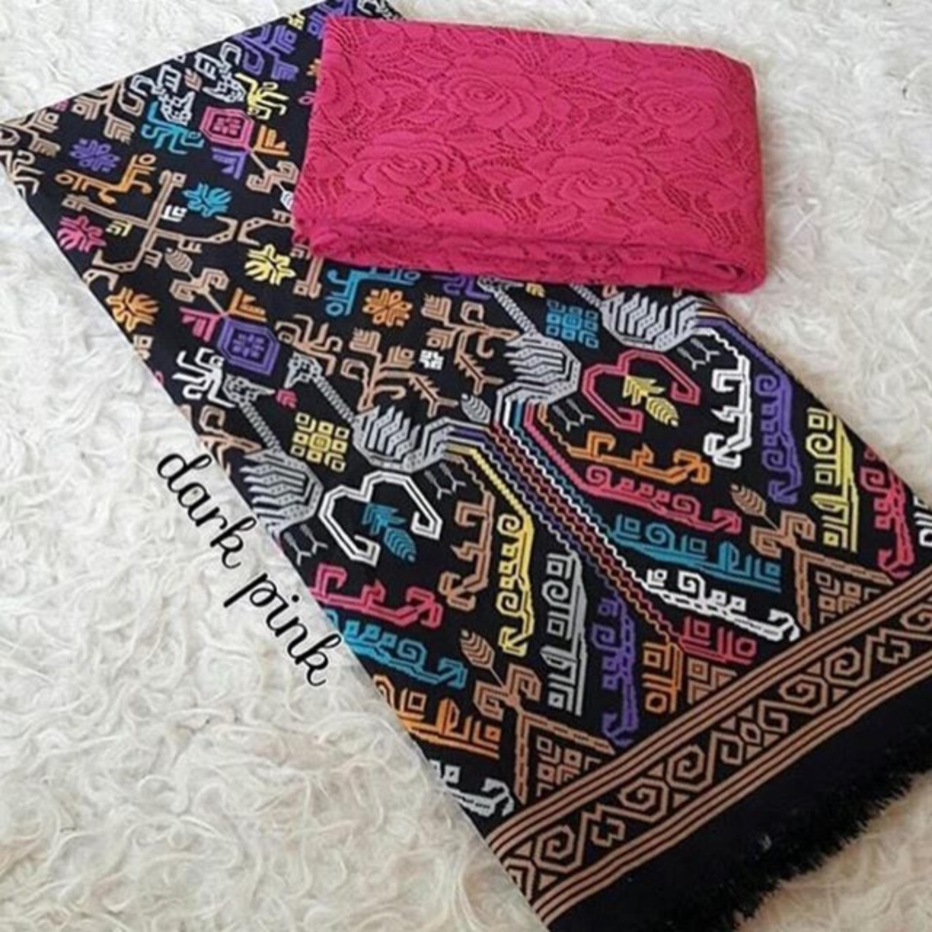 Flash Sale Set kain satin bali murah songket merak hitam dan brokat pinklembaran