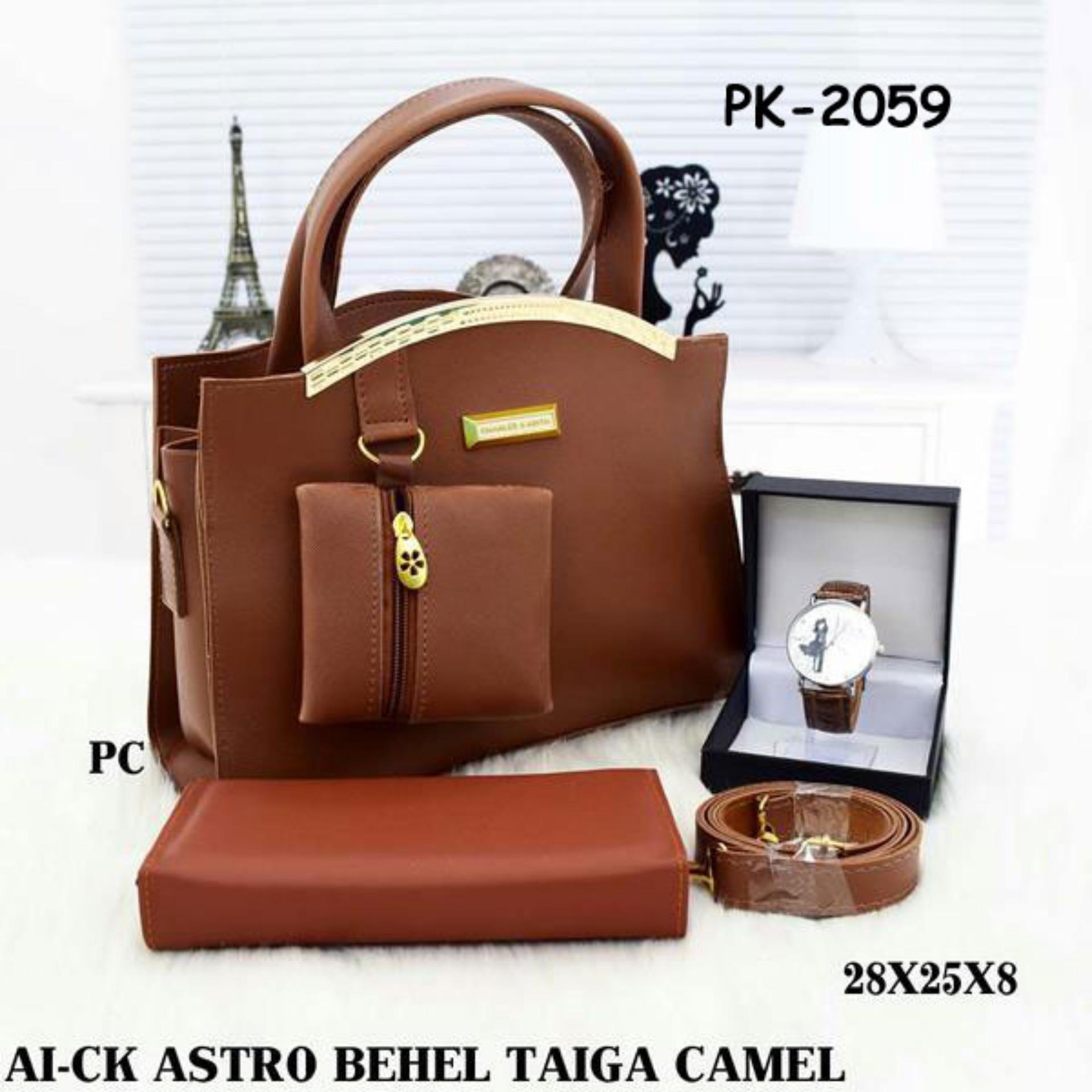 Tas Wanita Paket 3in1 Dompet Dan Jam Tangan 001 Daftar Harga  Branded Ck 00773 Set Cewek Astro Behel
