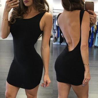 harga Sexy Women Sleeveless Bodycon Solid Backless Mini Tank Dress - intl Lazada.co.id