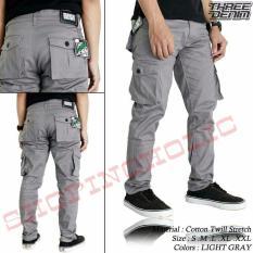 SH Celana pria cargo panjang / PDL / celana gunung - ( Abu muda)