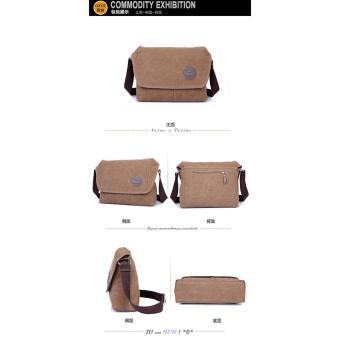 Shimon Men's Messenger Shoulder Canvas Bag Travel Crossbody Bag -Khaki .
