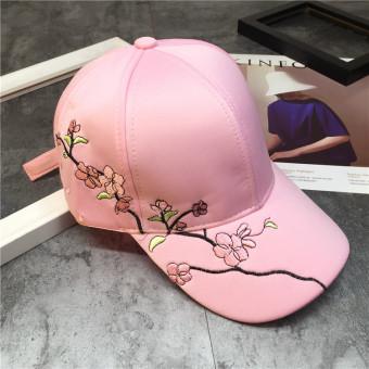 SHININGSTAR bordir perempuan Meihua mercerized topi topi topi (Merah muda)