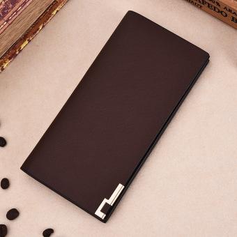 Shishang bagian tipis siswa dompet pria bagian panjang Wallet (Besi sisi coklat-013)