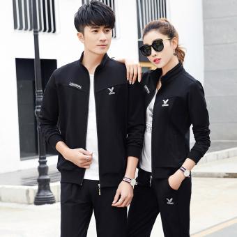 Beli Shishang beberapa model pria dan wanita musim semi dan musim gugur sweater (Perempuan hitam satu set) Online
