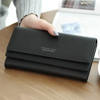 Shishang lintas pola dua kali lipat bagian panjang Wallet wanita dompet ( Hitam)