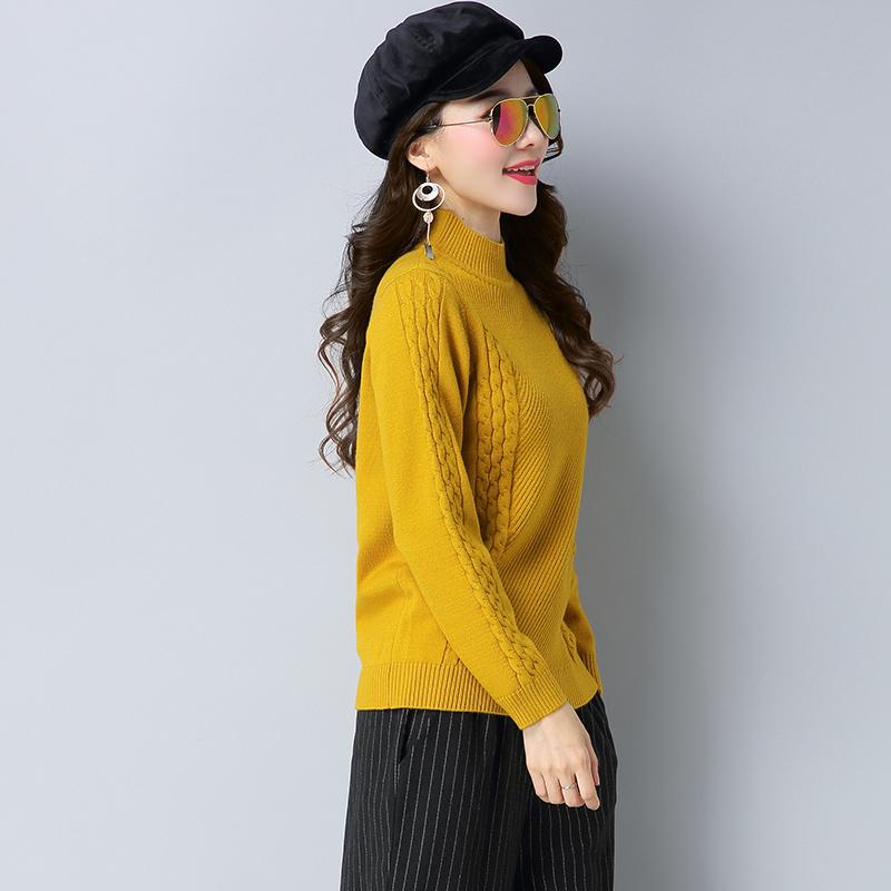 Cheap online Shishang warna solid setengah kerah tinggi dalam perjalanan baru musim gugur sweater (Kuning