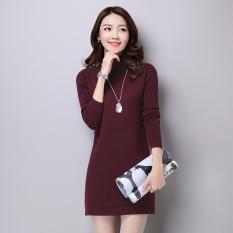 Shishang warna solid setengah tinggi leher bulat sweater bottoming sweater sweater (Ungu)