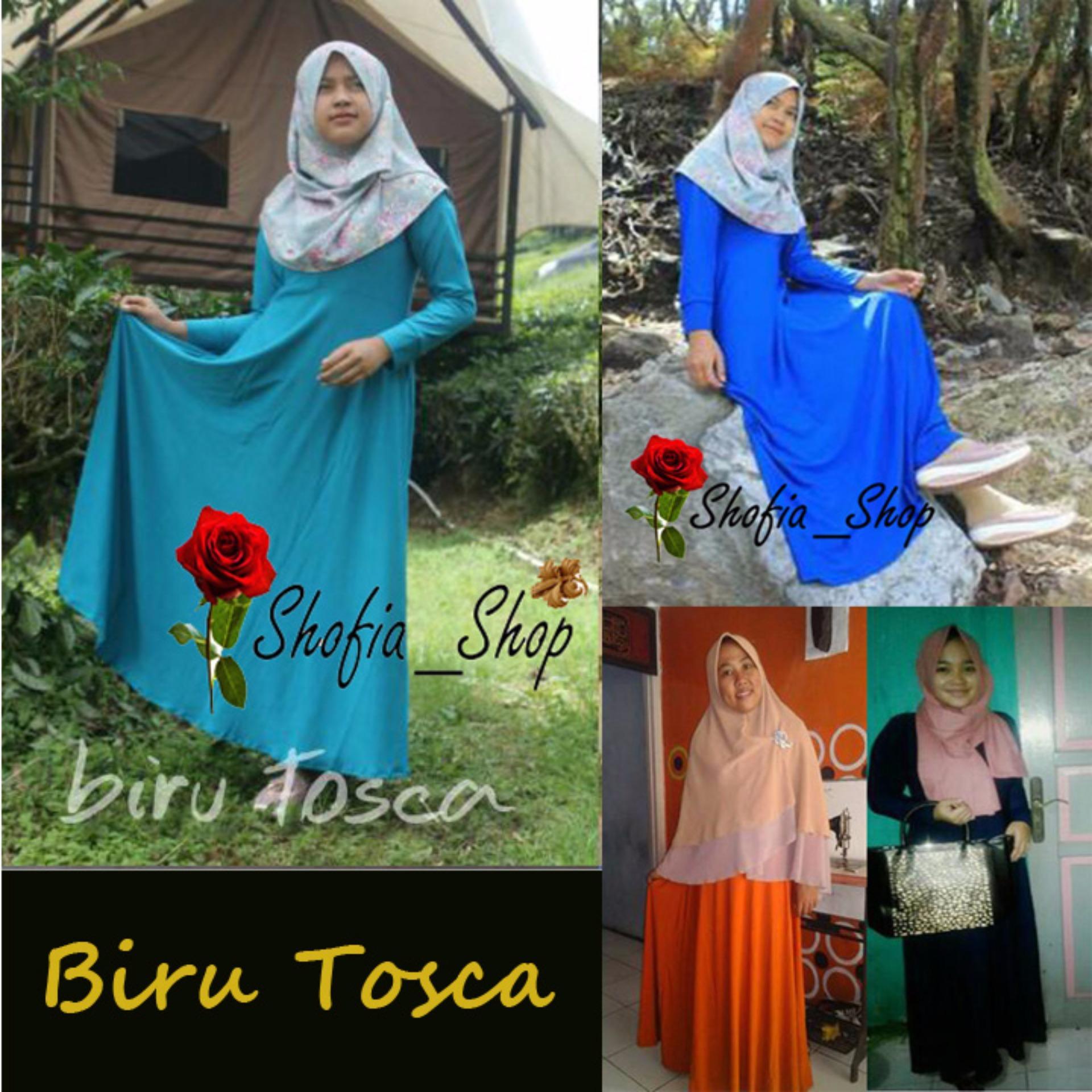 Shofia - Biru Tosca- Gamis Polos Jersey Super Busui Muslimah AllSize Fit .